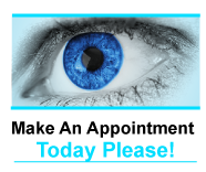 Appointment button with clos eup of blue eye