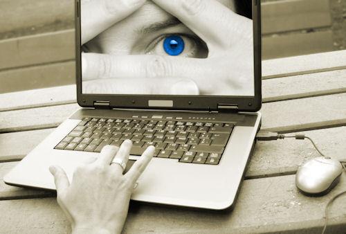 Blue eye on computer screen in Boulder