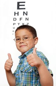 Little Boy with Glasses having a Pediatric Eye Exam in Dade City