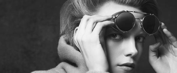 model wearing Matsuda glasses black and white
