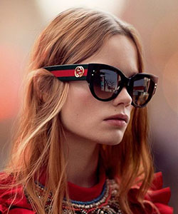 Model wearing Dolce Gabbana sunglasses