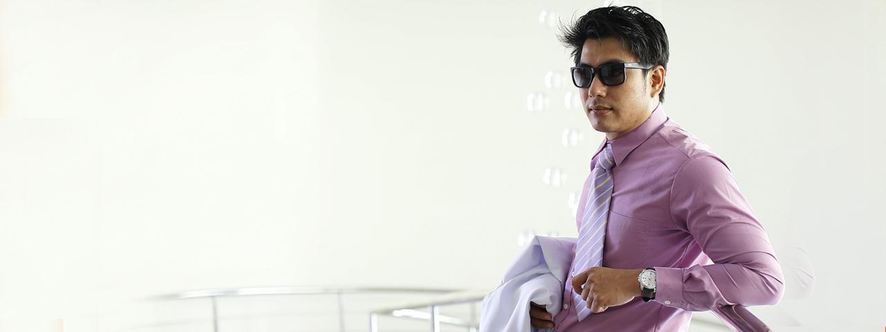 Dark Hair Man Purple Shirt Sunglasses