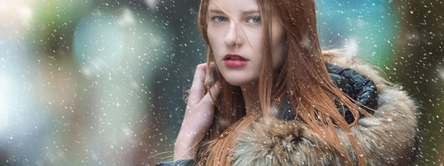 Young Woman Snow Long Hair 1280x480