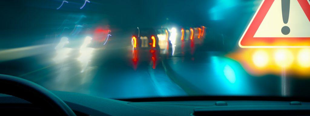blurry night driving