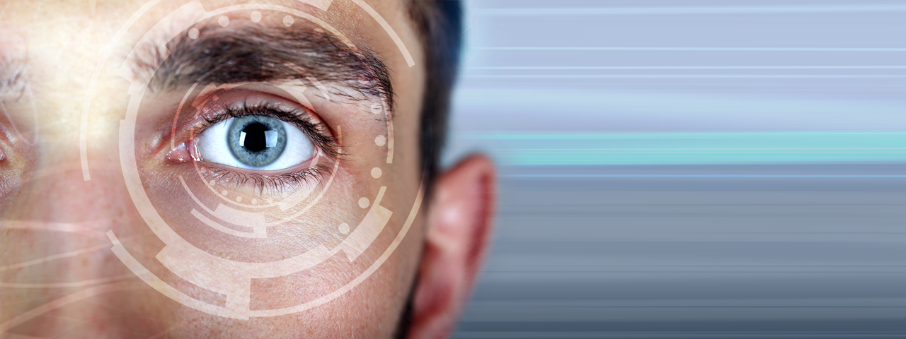 Man's Eye with Tech Imagery