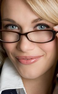 blond wearing glasses