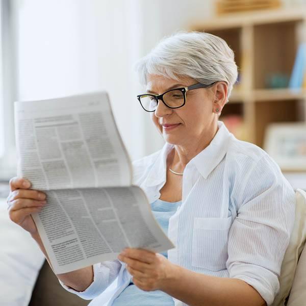 senior woman glasses low vision