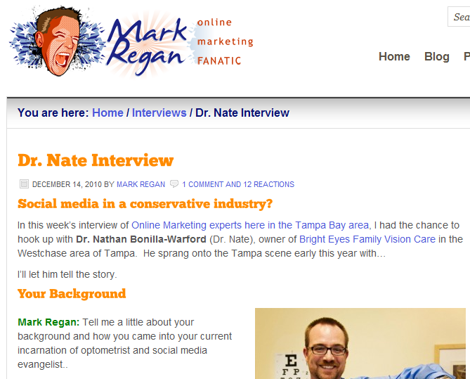 Mark Regan interviews Dr Nate of Bright Eyes Tampa