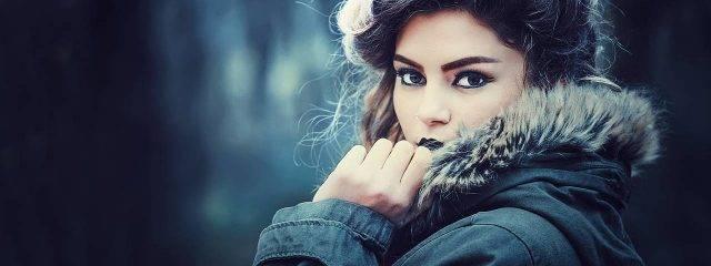 Girl Dark Makeup Eyes Coat 1280x480 640x240