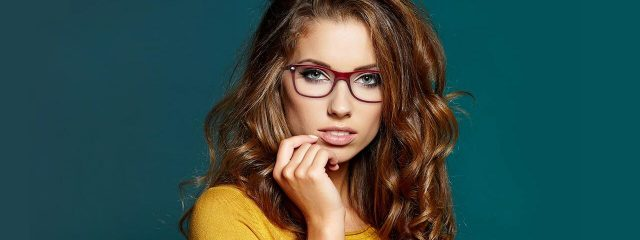 Eye care, woman wearing designer frames in Westerville, OH