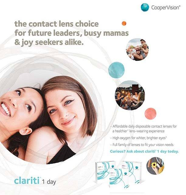 Ad for Clariti contact lenses with women adn children