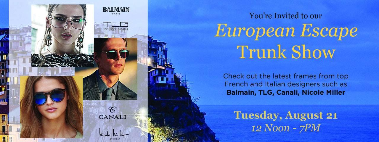 European Escape Trunk Show at Century Eye Care in Tacoma, Washington