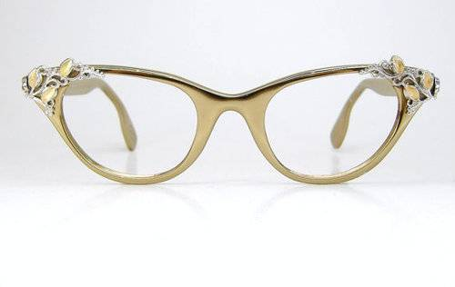 vintage gold cat's eye eyeglass frames