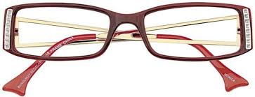 marron rectangular eyeglass frames with details at temples