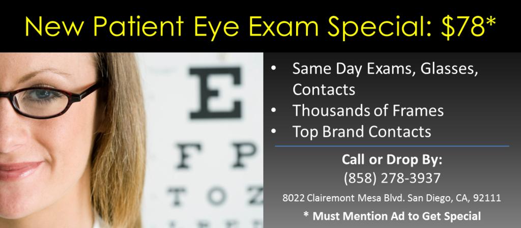 eye exam Clairemont CA