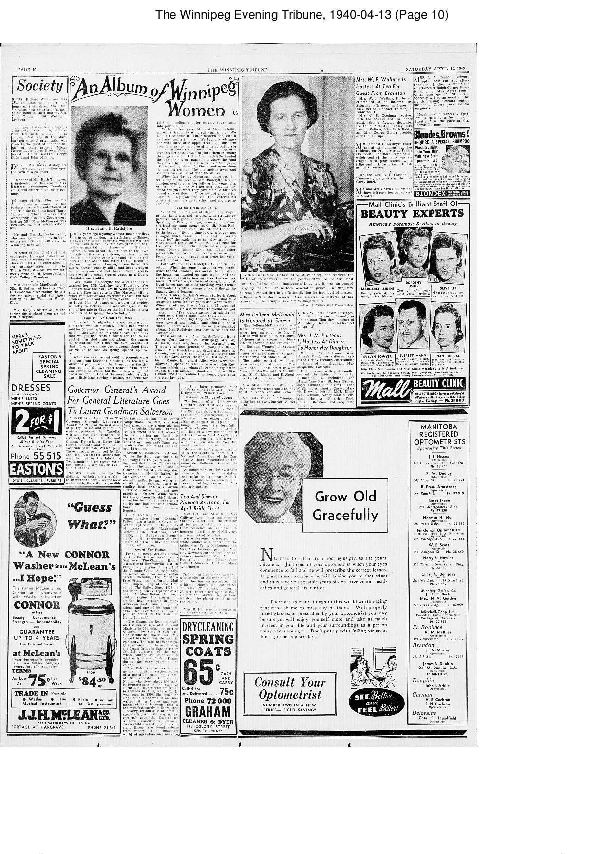 The Winnipeg Evening Tribune 1940 04 13 Page 10 page 001