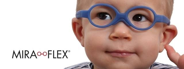 Eye doctor, little boy wearing Miraflex eyeglasses  in Winnipeg, MB