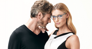 man and woman advertising owp frames at InSight Eyecare Optometry