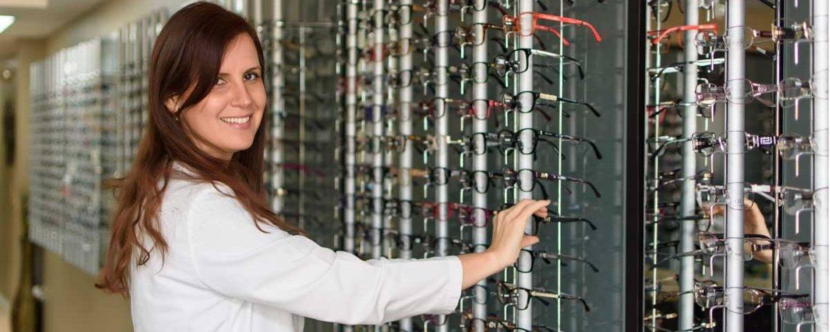 Dr. Laria with Designer Eyewear at Laria Eye Care