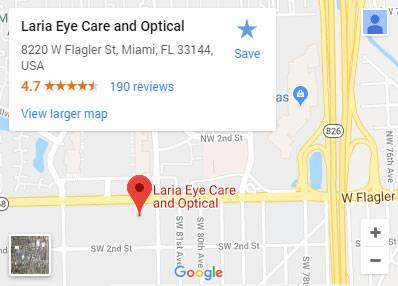 Map to Laria Eye Care in Miami, Florida