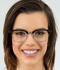 attractive brunette wearing eyeglasses happily