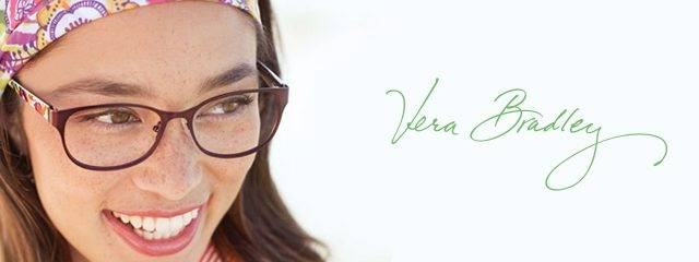 Optometrist, woman wearing Vera Bradley eyeglasses in Lantana, FL