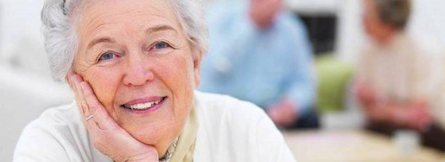 Eye care, senior woman smiling in Providence, RI