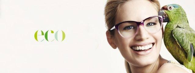 Eye doctor, woman wearing Eco eyeglasses in Seattle, WA