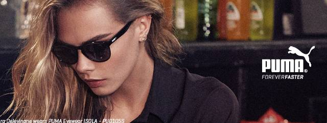 Eye doctor, woman wearing Puma sunglasses in Irving, TX