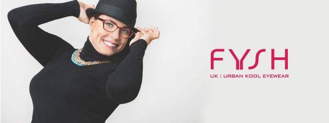 Eye doctor, woman wearing Fysh eyeglasses in Freelton, ON