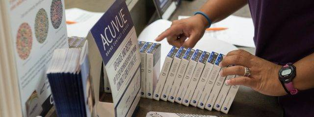 Eye doctor, boxes of acuvue contact lenses in Toronto, ON