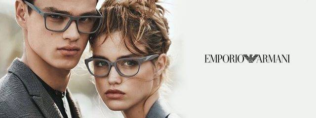 Optometrist, man and woman wearing Emporio Armani eyeglasses in Burlington, Massachusetts