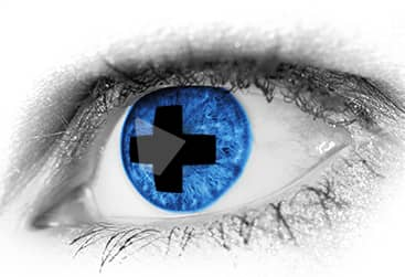 big blue eye with emergency sign. our eye doctor provides emergency eye care near you and also treatment for eye infections