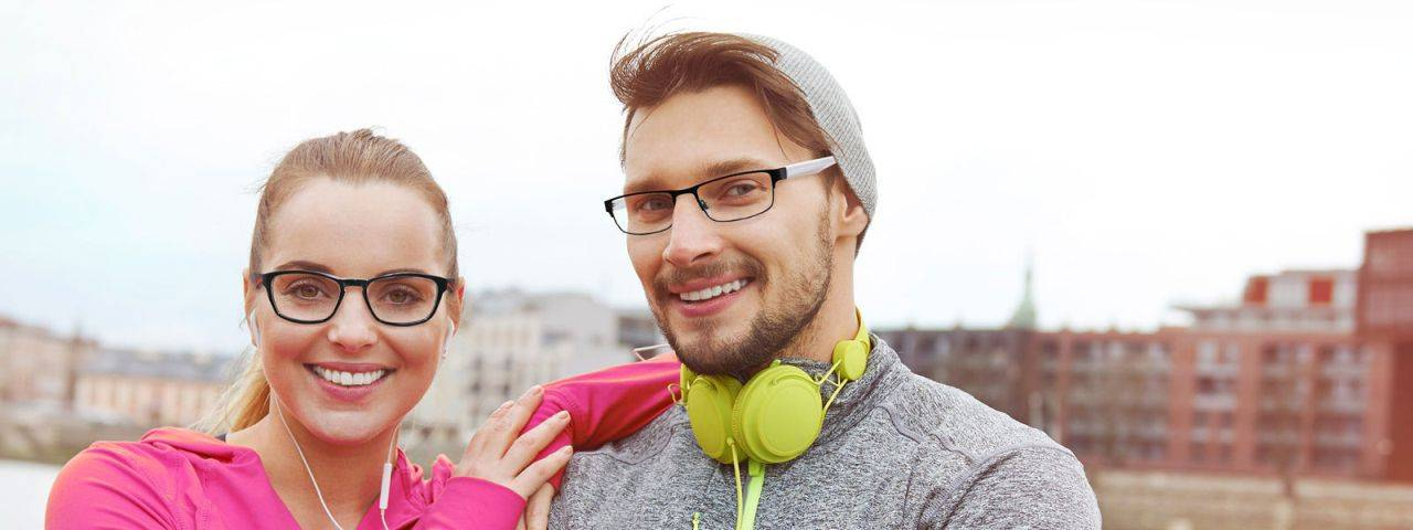 sporty gal and guy in Cantera frames