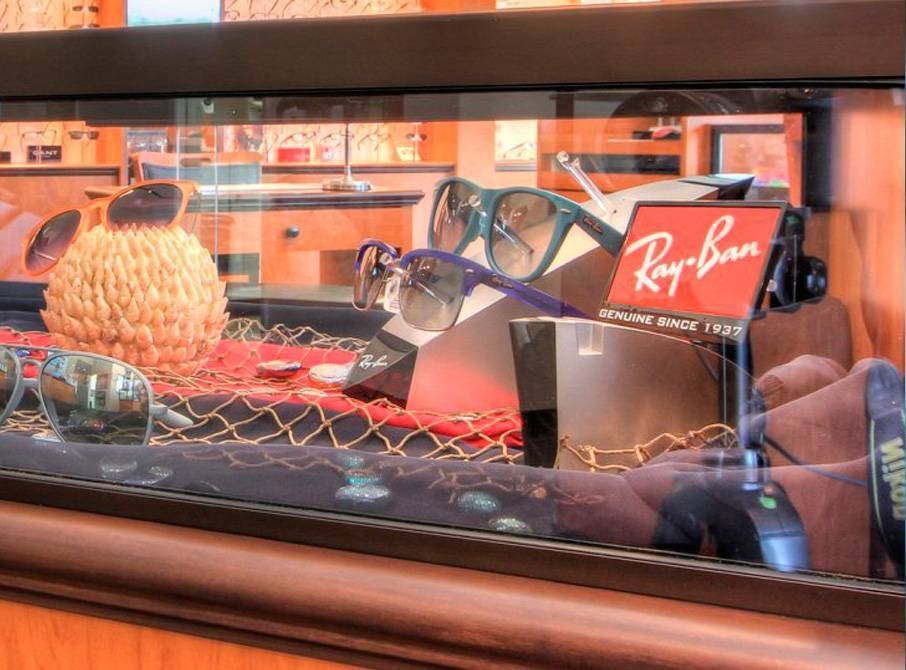 N2 Eyes Comprehensive Optometry interior, designer sunglasses, Ray Ban eyewear display