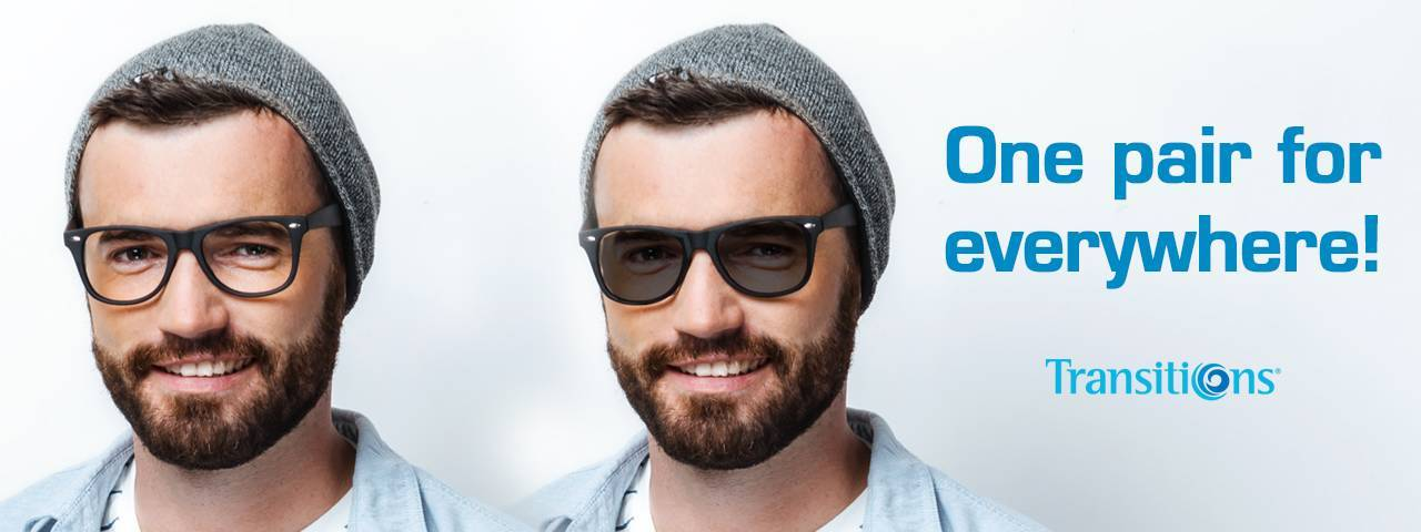 Man wearing transition lenses eyeglasses in Lake Mary & Orlando, FL