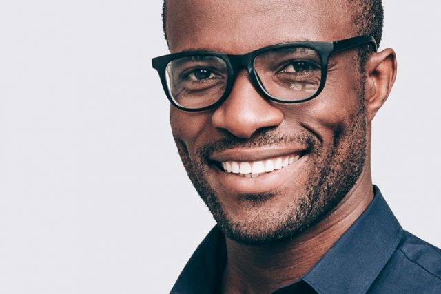 Man wearing black glasses