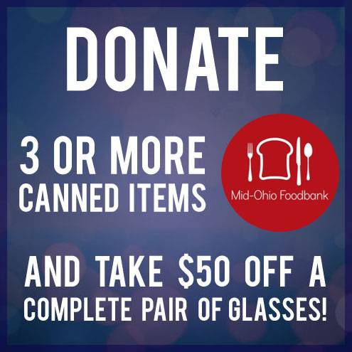 Donate canned goods to the Mid-Ohio Foodbank