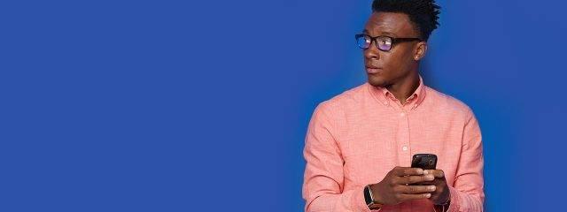 Optometrist, african american man wearing blutech eyeglasses in Fort Lauderdale, FL