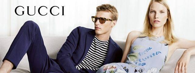 Eye doctor, man and woman wearing Gucci eyeglasses in Fort Lauderdale, FL