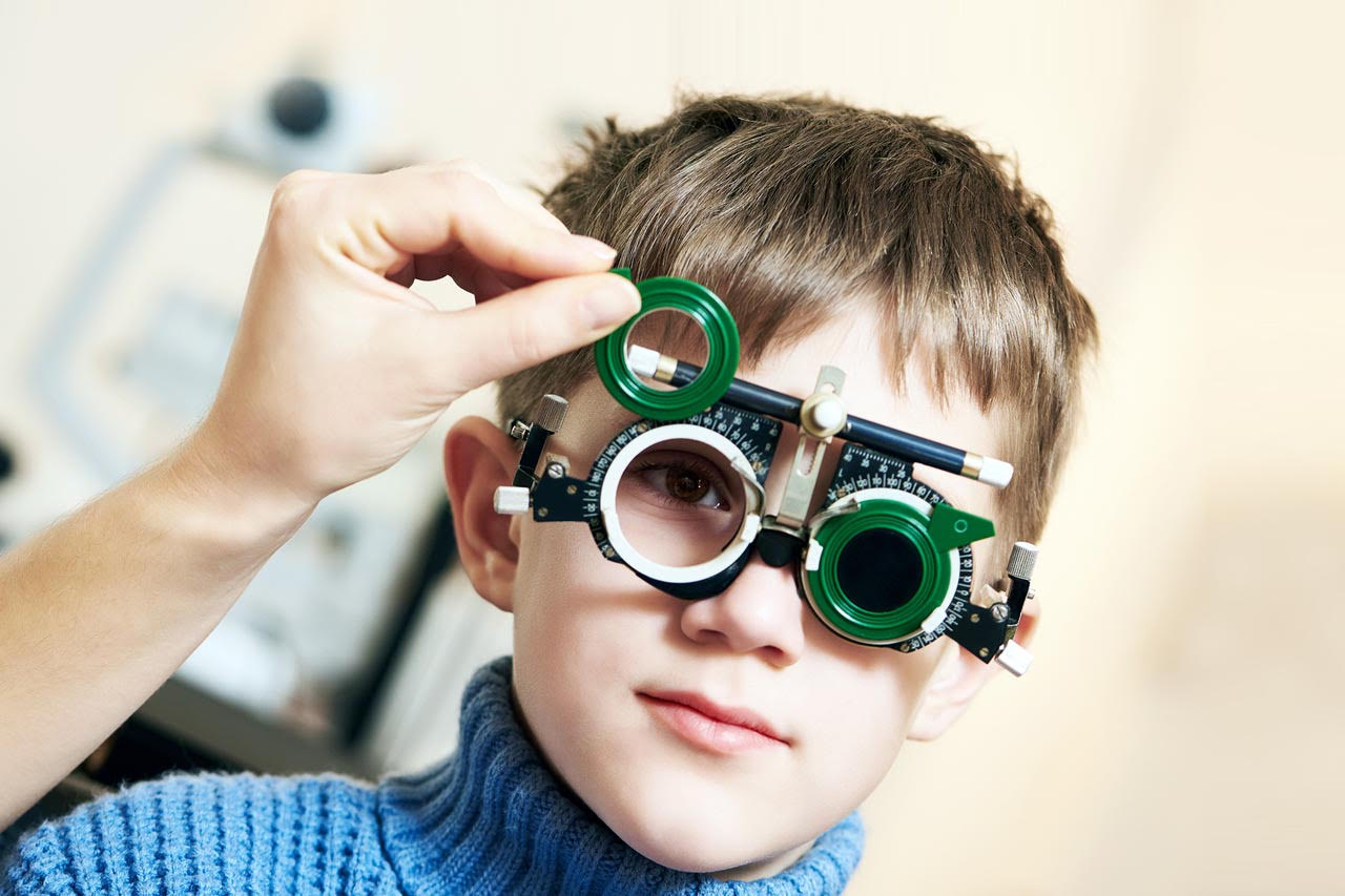 Boy having vision therapy in Fort Worth, TX