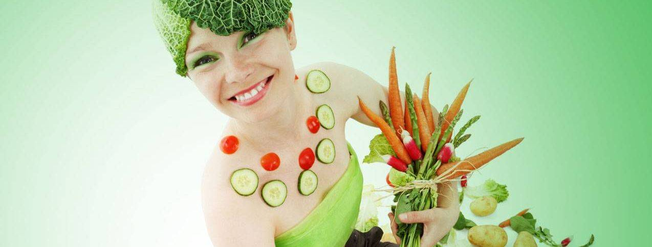 Woman wearing vegetables to advertise eye nutrition in Rocky River, OH