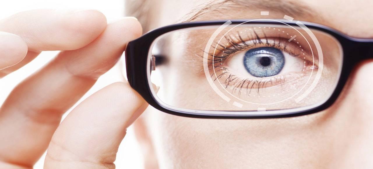 Woman wearing eyeglasses after corneal graft