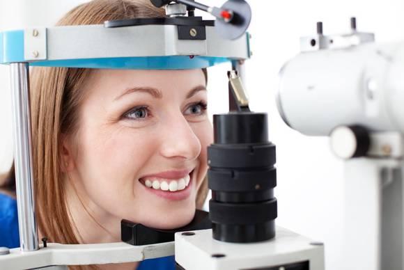 eye exam close up