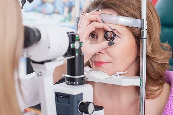 medical eye exam close up