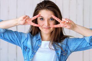 Girl blue eyes, smiling
