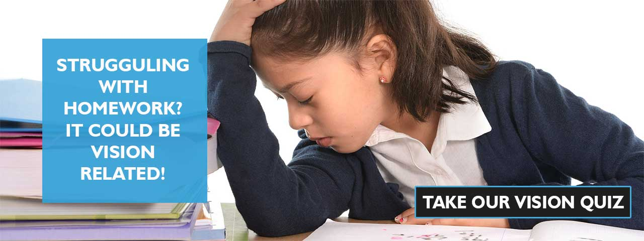 frustrated child at school. Click here to Take our vision quiz