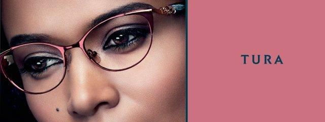 Eye doctor, woman wearing Tura eyeglasses in Billings, Montana