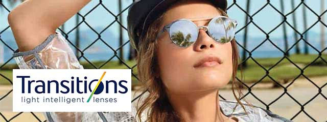 Optometrist, woman wearing transitions lenses in Houston, Spring, Conroe, TX