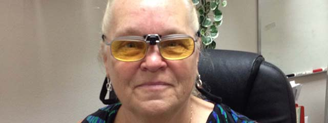 Woman Wearing E-Scoop Glasses